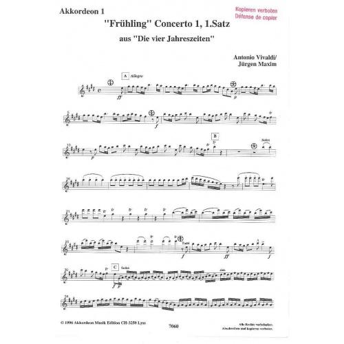 Frühling Concerto 1 van Vivaldi (partituur)