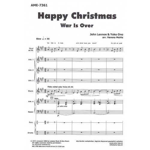 Happy Christmas (war is over) partituur