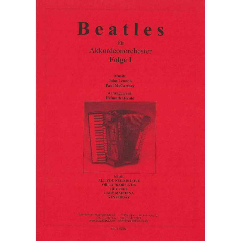 Beatles für akkordeonorchester folge 1 (partituur)