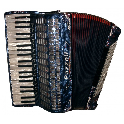 41/120/V/V15+5 Pazzoli 120 bas accordeon met full-decoratie. Italiaanse lijn