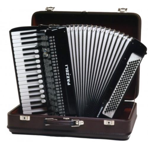 41/120/IV/V/11+5 Pazzoli 120 bas accordeon met Italiaanse stemtongen. Duitse lijn